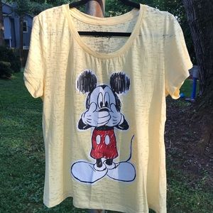 Mickey Mouse burnout tee in pale pastel yellow